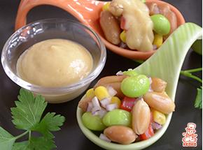 秋の味覚!生落花生のひとくちサラダピーナッツソース