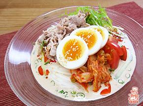 豚しゃぶとキムチのごま豆乳そうめんサラダ|サラダ麺
