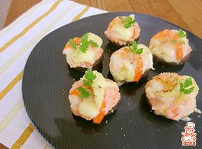 しいたけの明太ポテサラ®チーズ焼き【料理レシピ】