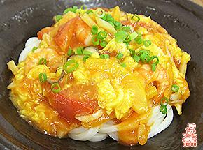 エビチリたまごあんかけうどん|餡かけ|麺レシピ